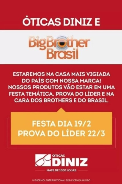 853837c24572c Óticas Diniz no Big Brother Brasil.